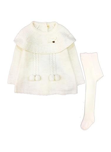 By Leyal For Kids  Bebe Yaka Triko Elbise (Sırt Komple Düğmeli) Ve Çorap Set-7053 Krem